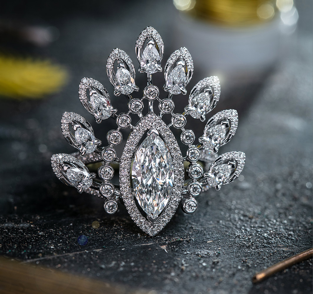White gold and diamond high jewelry ring Desert Bloom
